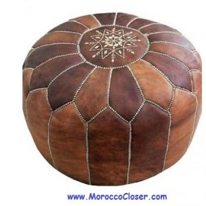 Brown Pouf traditional moroccan