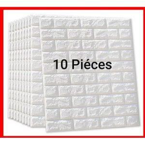 10 Pcs Adhesife Paneaux Mural Anti-humidité Briques 3D size 77*70 Blanc