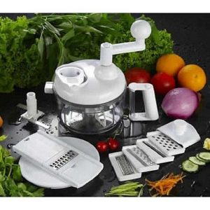 Hachoir Robot multifonction manuel + 4 surface amovibles pour râper et trancher -Swift Chopper - solution cuisine