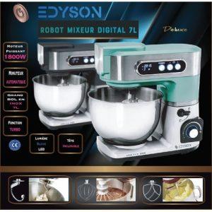 Edyson Robot Patissier Pétrin Digital 7L (Couleur Turquoise / Chrome Brossé)