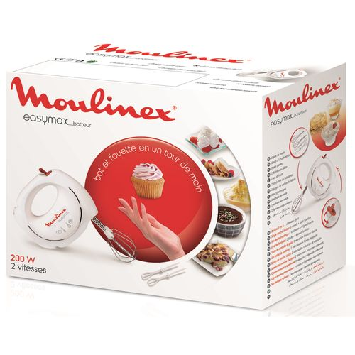 Moulinex Batteur Easy Max ABM11A30, 200W, 2 vitesses, fouets métal et plastique