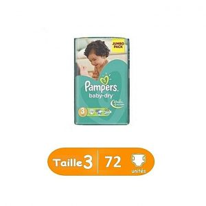 Pampers Couches bébé taille 3 Midi Jumbo Pack 72 unités