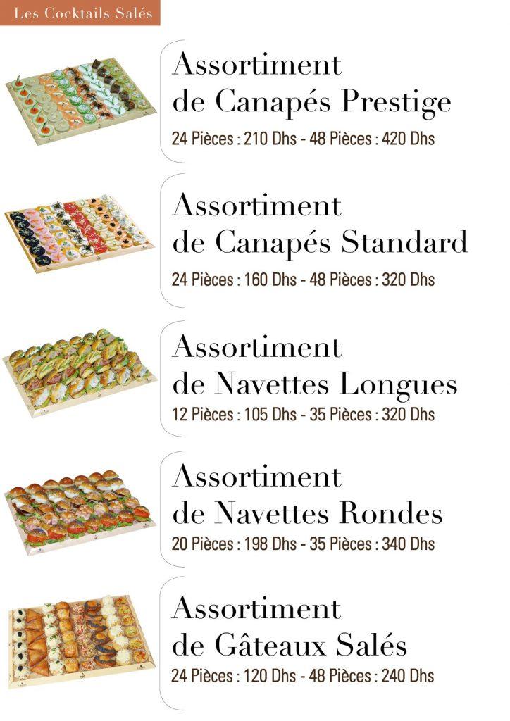 Assortiment de canapés prestige canapés standard navettes longues rondes Gâteaux salés