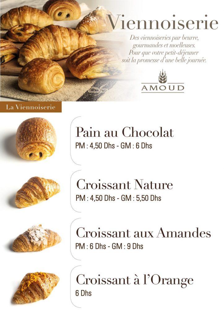 Pan au chocolat - Croissant simple - Croissant fourrés aux amandes - Croissant à l'orange.